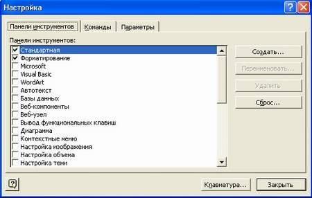 Настройка редактора Мicrosoft Word XP