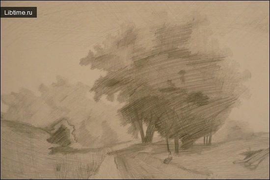Рисование на природе карандашом