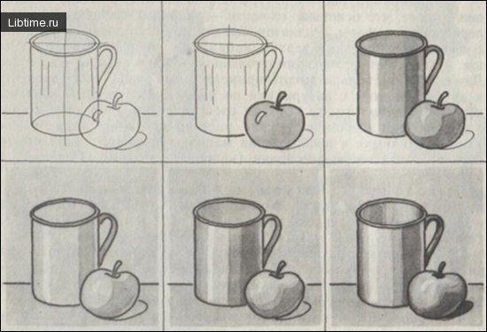 Как рисовать натюрморт из кружки и яблока