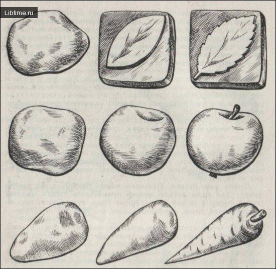 Лепка листьев, овощей и фруктов с натуры