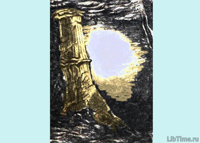 Ствол каламита в угольной шахте